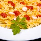 томат макаронных изделия тарелки Стоковое Изображение