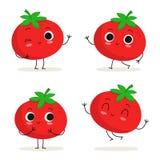 Томат Милый vegetable набор символов на белизне Стоковое Изображение RF
