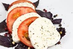 томат перца mozzarella базилика Стоковое Изображение RF