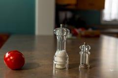 Томат, соль и перец Стоковое Фото