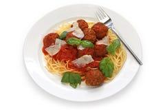томат соуса макаронных изделия meatballs Стоковые Изображения