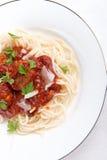 томат соуса макаронных изделия meatballs Стоковое фото RF