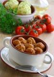 томат соуса meatballs Стоковое Изображение