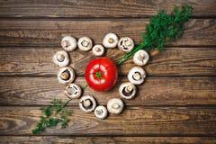 Томат с грибами в форме сердца Стоковое Фото