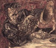 Том ждет, картина маслом, художник римское Nogin, звуки ` серии джаза ` Стоковые Изображения