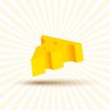 Том иллюстрации сыра, части реалистического дизайна красивой желтой с тенью на белой предпосылке Стоковое фото RF