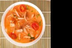 Том Yum Gai или пряный суп Tom yum с цыпленком - подлинное тайским стоковое изображение
