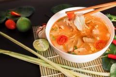 Том Yum Gai или пряный суп Tom yum с цыпленком - подлинное тайским стоковая фотография