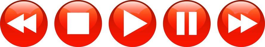 Тональнозвуковое видео-плейер застегивает красный цвет бесплатная иллюстрация