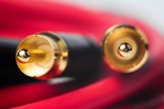тональнозвуковое RCA фото макроса кабелей Стоковое Фото