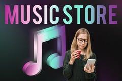 Тональнозвуковая концепция графика значка примечания музыки магазина Стоковое Фото