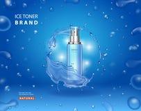 Тонер льда advetising на сини Косметический дизайн бутылки брызга для объявлений с падениями и сияющим выплеском иллюстрация вектора