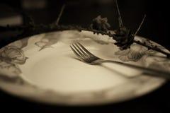 Тонизированная вилка в monochrome плиты Стоковая Фотография RF