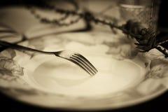 Тонизированная вилка в monochrome плиты Стоковая Фотография