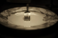 Тонизированная вилка в monochrome плиты Стоковые Фотографии RF