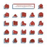 Тонкая линия значки стиля анаглифа Установленные дома и здания Стоковые Фотографии RF