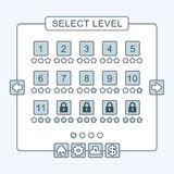 Тонкая линия интерфейс уровня меню игры обшивает панелями ui Стоковая Фотография
