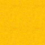 Тонкая линия картина Хануки еврейского праздника счастливая безшовная желтая Стоковое Изображение RF