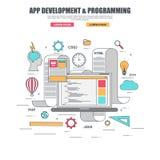 Тонкая линия плоская идея проекта для развития и создавать app код вебсайта программируя Стоковая Фотография RF