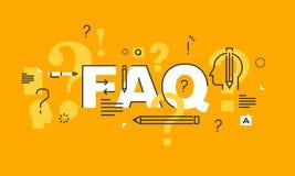 Тонкая линия плоское знамя дизайна для интернет-страницы вопросы и ответы Стоковые Фотографии RF