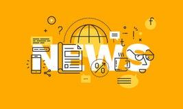 Тонкая линия плоское знамя дизайна для интернет-страницы новостей Стоковая Фотография