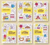 Тонкая линия комплект карточек брошюры счастливых людей печь Украшать испечет шаблон flyear, кассеты, плакат, обложку книги иллюстрация штока