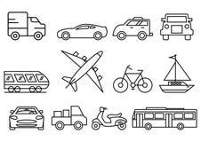 тонкая линия набор транспорта значков бесплатная иллюстрация
