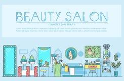 Тонкая линия салон красоты с ассортиментом косметологии и красота конструируют Плоское оборудование плана в vecto салона красоты иллюстрация вектора