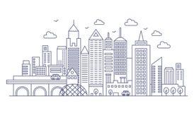 Тонкая линия современная большая предпосылка города Городской городской пейзаж с иллюстрацией вектора небоскребов бесплатная иллюстрация
