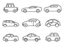 Тонкая линия транспорт значков иллюстрация вектора