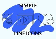 Тонкая простая линия установленные значки Значки для дела и социальных сетей Видео-плейер, массаж, подобия Стоковое фото RF
