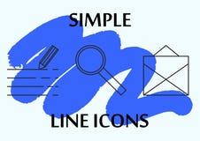 Тонкая простая линия установленные значки Значки для дела и социальных сетей Текст, массаж, увеличитель Стоковые Изображения RF