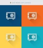 Тонкая тонкая линия значки установила money&safe спасения и сбережений, современного простого стиля Стоковые Фото