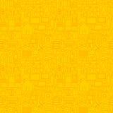 Тонкая умная линия безшовная желтая картина дома Стоковые Изображения RF