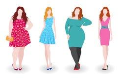 Тонкие и тучные женщины моды Стоковое фото RF