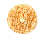 Тонкий блинчик при изолированные мед и масло Стоковые Изображения RF