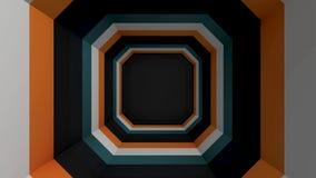 Тоннель покрашенный квадратом Абстрактная анимация квадратного пестротканого тоннеля иллюстрация вектора