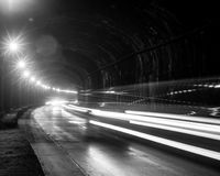 Тоннель с moving светами Стоковые Изображения
