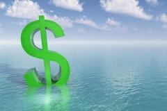 тонуть знака доллара Стоковое фото RF
