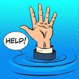 Тонуть руки просит помощь владение домашнего ключа принципиальной схемы дела золотистое достигая небо к иллюстрация штока