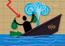 Тонуть финансы Иллюстрация штока