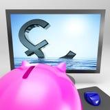 Тонуть фунт показывает рецессию или бедствие спада иллюстрация штока