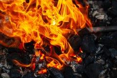 Топление заготовок металла на огне стоковое изображение