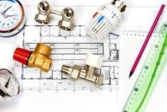 Топление инженерства Топление концепции Проект топления для дома стоковое фото