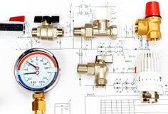 Топление инженерства Топление концепции Проект топления для дома стоковое фото rf