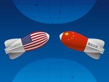 Торговая война между Китаем и США иллюстрация штока