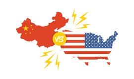 Торговая война, international обменом дела тарифа Америки Китая глобальный США против Китая иллюстрация вектора