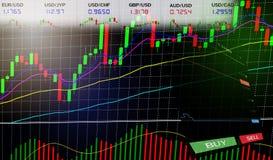 Торговая операция валют запаса - диаграммы диаграммы дела диаграмм финансовых/валют изображают диаграммой данные по данным по дос стоковая фотография