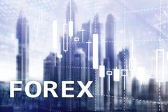Торговая операция валют, финансовая диаграмма свечи и диаграммы на запачканной предпосылке делового центра Стоковое Изображение