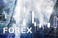 Торговая операция валют, финансовая диаграмма свечи и диаграммы на запачканной предпосылке делового центра Стоковая Фотография